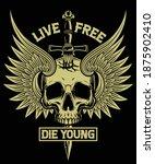 live free die young skull sword ...   Shutterstock .eps vector #1875902410