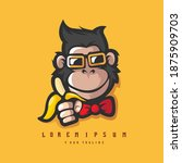 monkey with glasses and banana  ...   Shutterstock .eps vector #1875909703