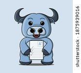 a cute blue buffalo mascot that ... | Shutterstock .eps vector #1875939016