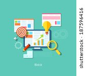 illustration of seo concept in... | Shutterstock .eps vector #187596416