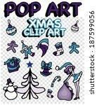 pop art christmas clip art | Shutterstock .eps vector #187599056