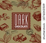 chocolate and cocoa pieces...   Shutterstock .eps vector #1876043509