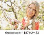 beauty spring girl portrait... | Shutterstock . vector #187609433