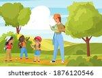 children tourists walk and hike ... | Shutterstock .eps vector #1876120546