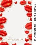 happy valentine's day frame....   Shutterstock .eps vector #1876148473