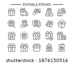 gift line icons. box  bow ... | Shutterstock .eps vector #1876150516