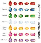 Seven different sets of cut gems - ruby, sapphire, emerald, diamond, amber, rose quartz and amethyst on a white background. Isolated Objects. Used free font Alex Brush (www.fontsquirrel.com)