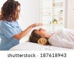 professional reiki healer doing ... | Shutterstock . vector #187618943