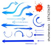 blue grunge arrows set. vector... | Shutterstock .eps vector #187625639