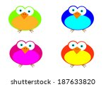 comical birds with bright... | Shutterstock . vector #187633820