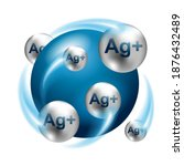 silver ions  ag plus action 3d... | Shutterstock .eps vector #1876432489