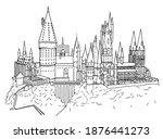 line hogwarts castle. vector... | Shutterstock .eps vector #1876441273