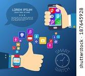 smart watch smartphone synchro... | Shutterstock .eps vector #187645928