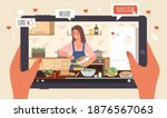 cooking live streaming. hands... | Shutterstock .eps vector #1876567063