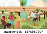 picnic backyard. people cooking ... | Shutterstock .eps vector #1876567309