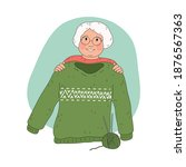 smiling ederly woman... | Shutterstock .eps vector #1876567363