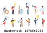 tiny people with social media... | Shutterstock .eps vector #1876568053