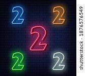 neon numbers  five colors red ... | Shutterstock .eps vector #1876576549