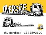 oversize load.  european truck...   Shutterstock .eps vector #1876593820