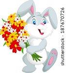 Cute Little Rabbit Holding A...