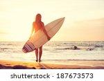 Beautiful Sexy Surfer Girl On...