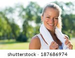 young attractive woman with a... | Shutterstock . vector #187686974