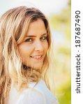 portrait of the beautiful blond ... | Shutterstock . vector #187687490