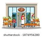 florist in flower shop. small... | Shutterstock .eps vector #1876956280