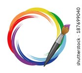 paint brush rainbow background. ... | Shutterstock . vector #187699040