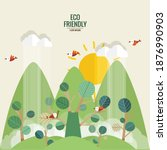 eco friendly. ecology concept... | Shutterstock .eps vector #1876990903