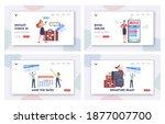 tourists app landing page... | Shutterstock .eps vector #1877007700