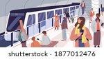 subway train arriving at metro... | Shutterstock .eps vector #1877012476