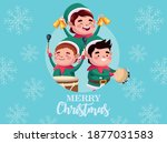 group of santa helpers playing... | Shutterstock .eps vector #1877031583