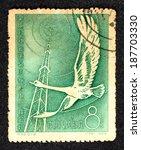 china   circa 1957  green color ... | Shutterstock . vector #187703330