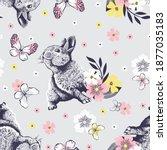 cute little rabbit looks up on... | Shutterstock .eps vector #1877035183