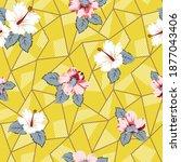 pink vector flowers bunches... | Shutterstock .eps vector #1877043406