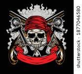 illustration of pirates skull ... | Shutterstock .eps vector #1877046580