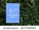 smoking area sign on public park | Shutterstock . vector #1877048983