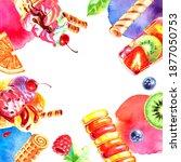 watercolor hand drawn ice cream ...   Shutterstock . vector #1877050753