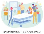 family visit mother after...   Shutterstock .eps vector #1877064910