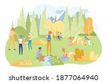 children on camping trip with... | Shutterstock .eps vector #1877064940
