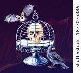 watercolor happy halloween...   Shutterstock . vector #1877075386
