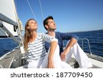 couple enjoying cruising on... | Shutterstock . vector #187709450