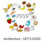 various kinds of food...   Shutterstock .eps vector #1877112343
