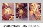 set of gold and dark purple...   Shutterstock .eps vector #1877113873