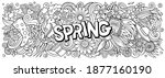 spring hand drawn cartoon... | Shutterstock . vector #1877160190