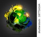 colorful splattered soccer ball ... | Shutterstock .eps vector #187716164