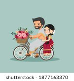 cute indian couple with bicycle ... | Shutterstock .eps vector #1877163370