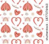 boho valentines day pattern.... | Shutterstock .eps vector #1877376463