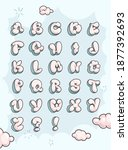 Fluffy Clouds Letters. Vector...